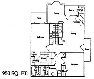 950 sq. ft. F floor plan