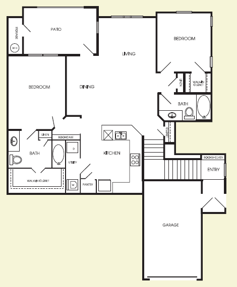 1,298 sq. ft. Uptown floor plan
