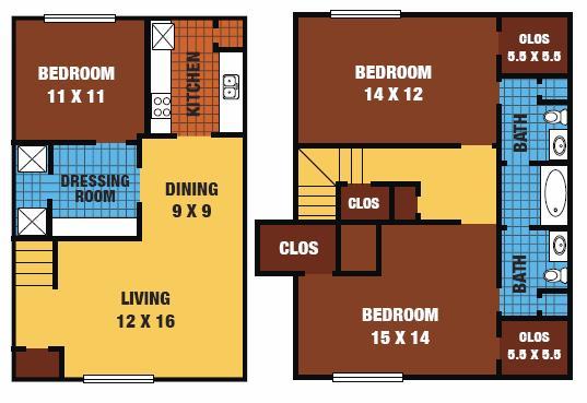 1,320 sq. ft. 60% floor plan