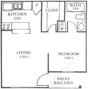 659 sq. ft. B floor plan