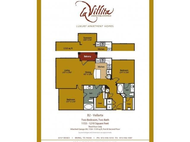 1,131 sq. ft. to 1,212 sq. ft. Vallarta floor plan