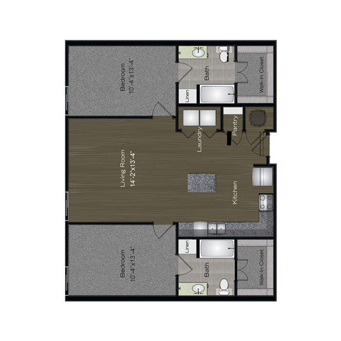 1,076 sq. ft. Lady Bird floor plan