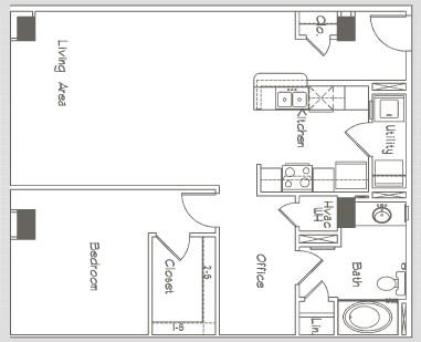 909 sq. ft. A3 floor plan