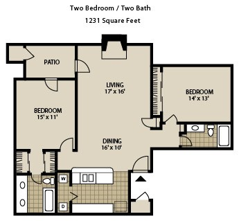 1,231 sq. ft. B6-A floor plan