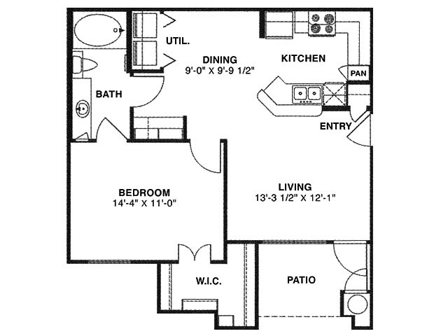 709 sq. ft. A/60% floor plan