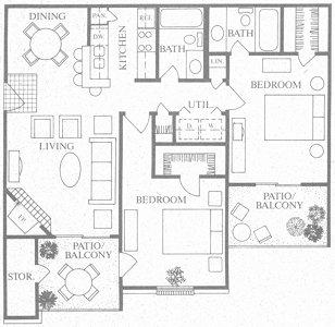 950 sq. ft. to 965 sq. ft. D floor plan