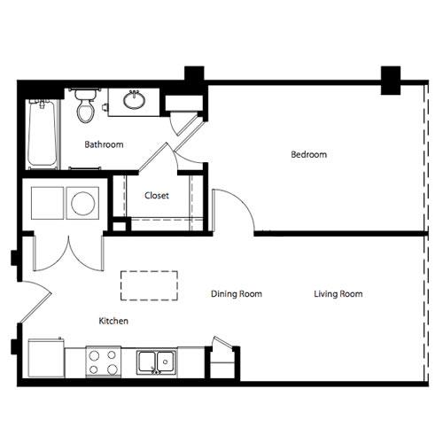 636 sq. ft. A floor plan