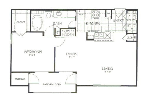 764 sq. ft. Hickory floor plan