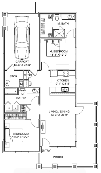 1,101 sq. ft. Veranda/60% floor plan