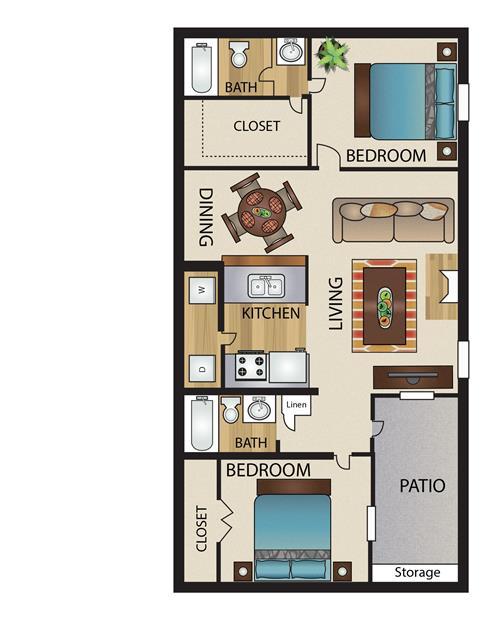 859 sq. ft. B1 floor plan