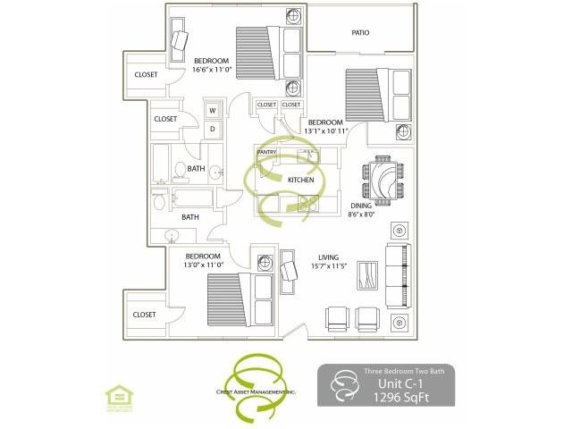 1,296 sq. ft. C1 floor plan