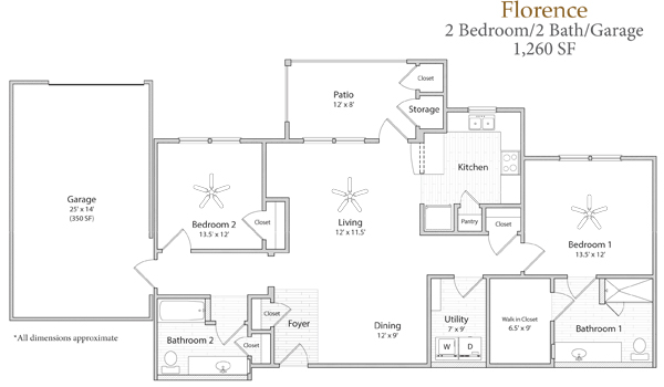 1,260 sq. ft. Florence floor plan