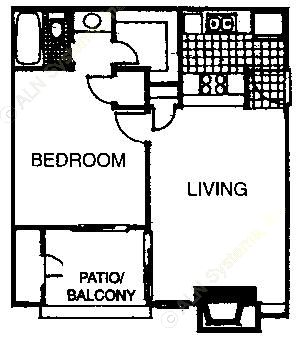 566 sq. ft. A1 floor plan