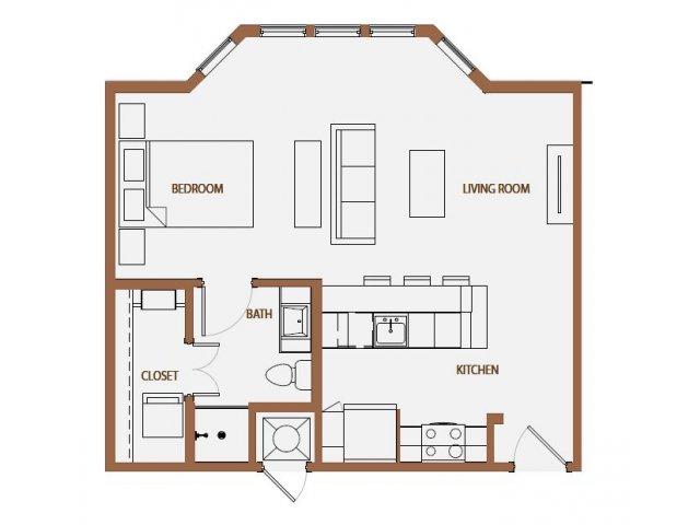 638 sq. ft. S2-2 floor plan