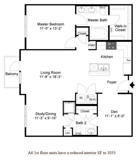 1,053 sq. ft. A6.1 floor plan