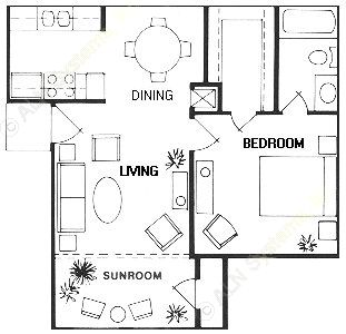 638 sq. ft. Bailey floor plan