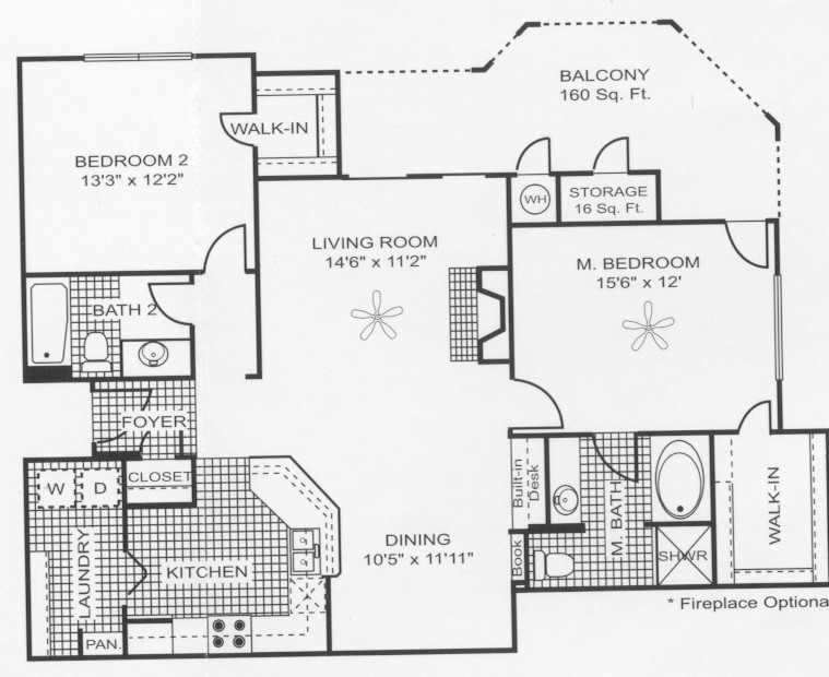 1,278 sq. ft. B8 floor plan