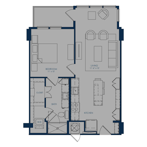 737 sq. ft. to 749 sq. ft. A24F floor plan