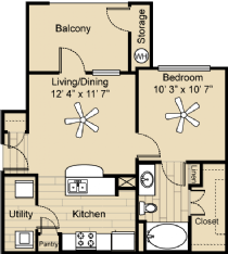583 sq. ft. A1 floor plan