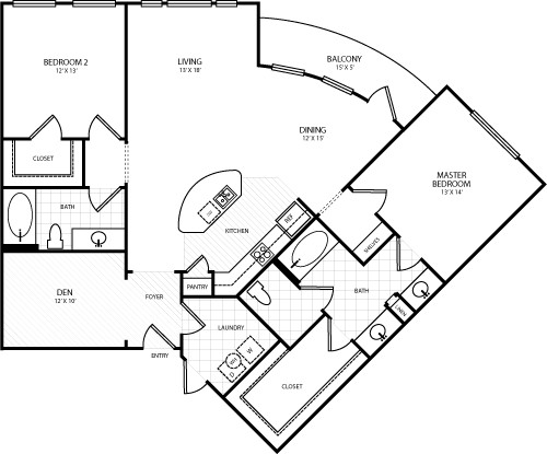 1,412 sq. ft. L3 floor plan