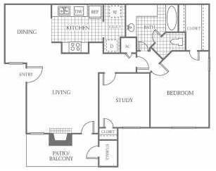 871 sq. ft. A5 floor plan