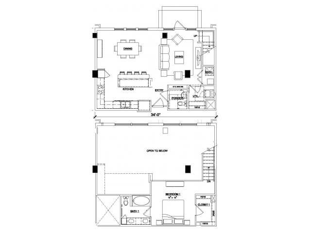 1,108 sq. ft. A7 floor plan