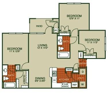 1,120 sq. ft. Orleander-C1 50% floor plan