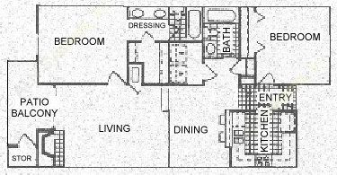 1,067 sq. ft. C floor plan