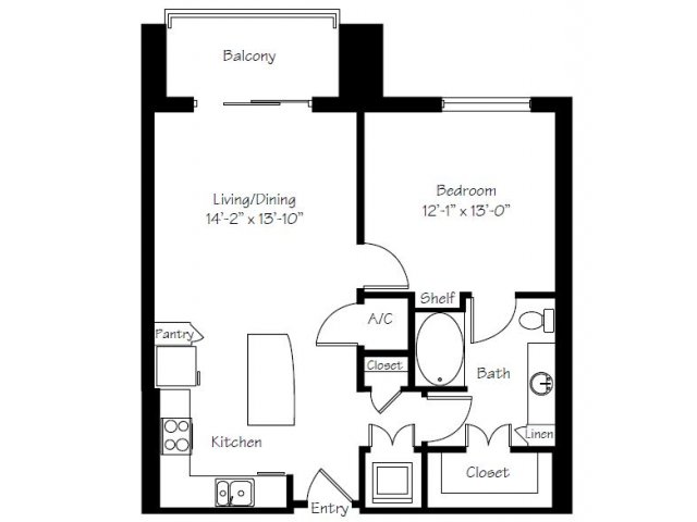 804 sq. ft. A14A floor plan
