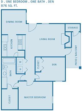 876 sq. ft. DOGWOOD floor plan
