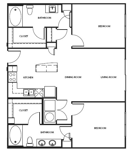 702 sq. ft. 2A1AAH floor plan