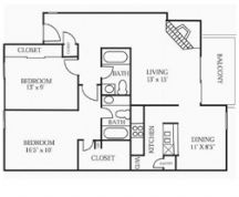 1,027 sq. ft. B2 floor plan