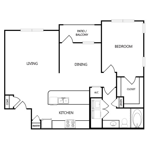 1,017 sq. ft. A4 floor plan