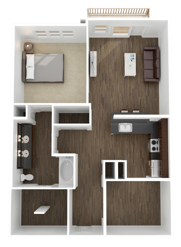 983 sq. ft. A7 floor plan