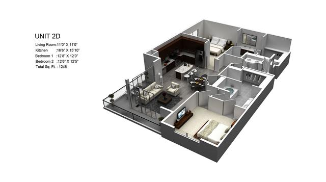 1,248 sq. ft. Mandarin/2D floor plan