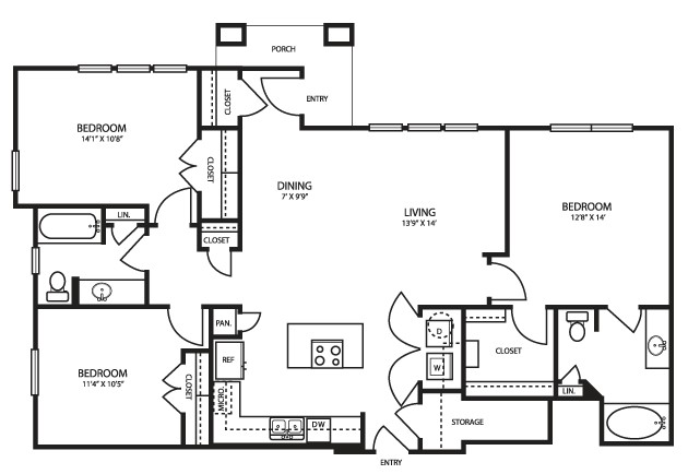 1,394 sq. ft. C11 floor plan