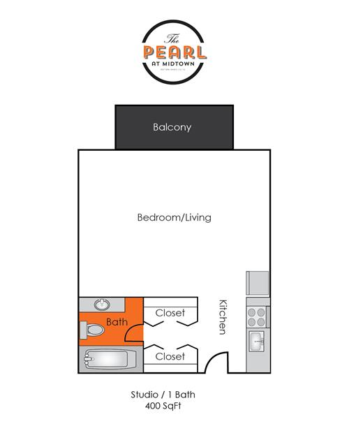 400 sq. ft. to 420 sq. ft. Studio floor plan