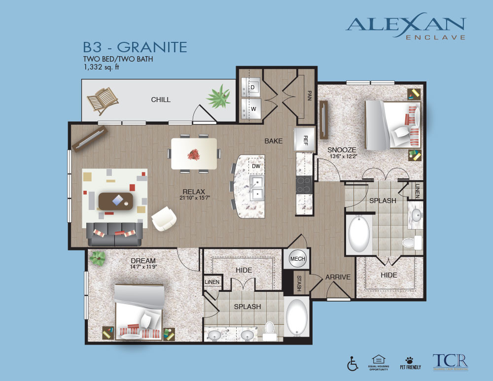 1,332 sq. ft. B3 floor plan