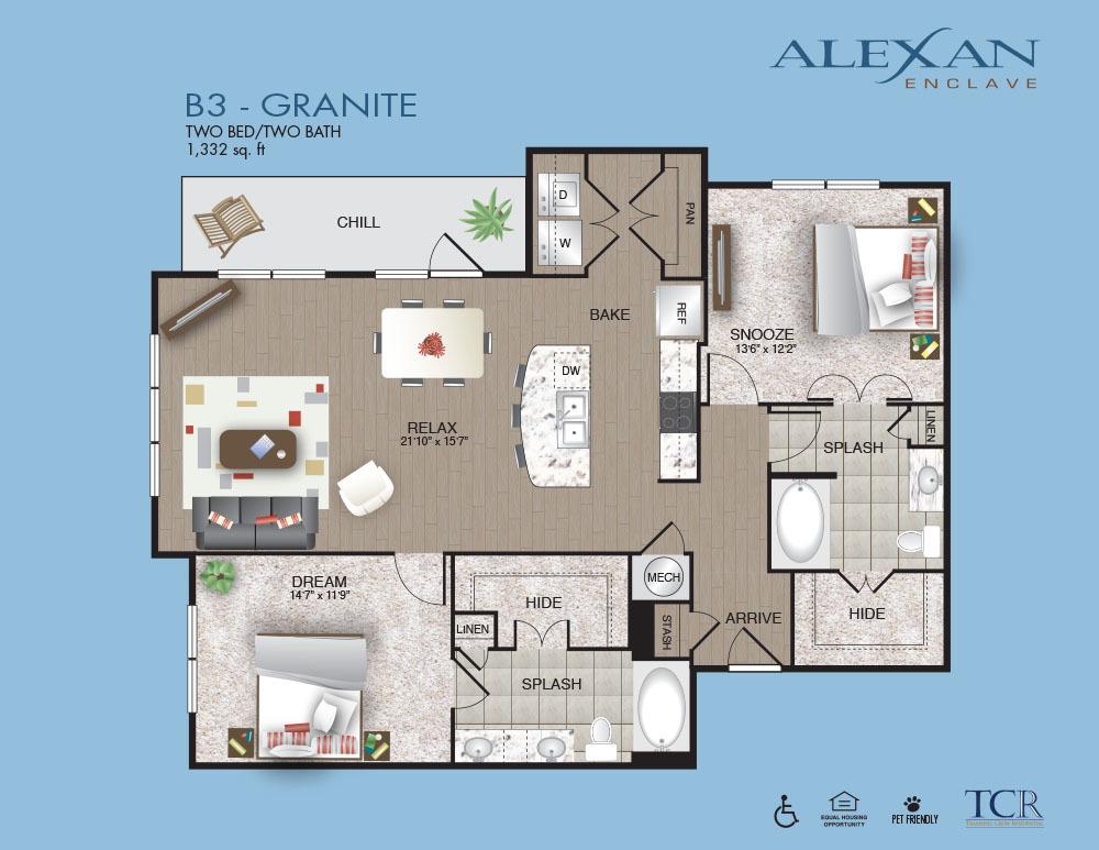 1,332 sq. ft. Granite floor plan