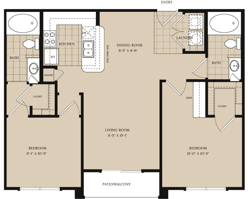 944 sq. ft. B1.1 floor plan