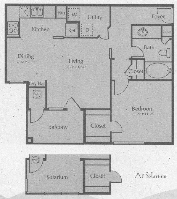 747 sq. ft. GRUENE W/SOL floor plan