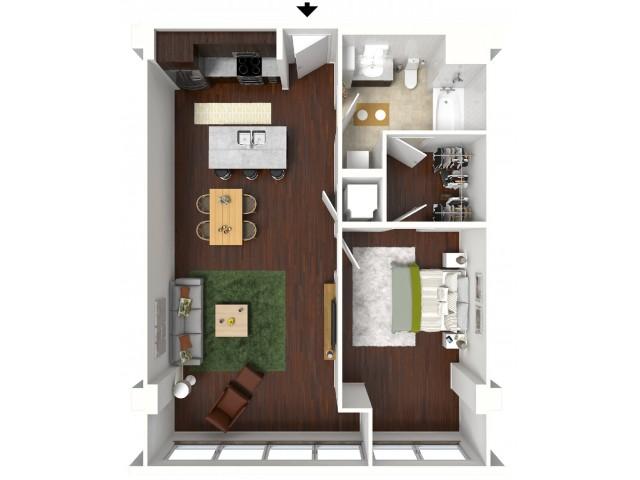 825 sq. ft. Cobalt floor plan