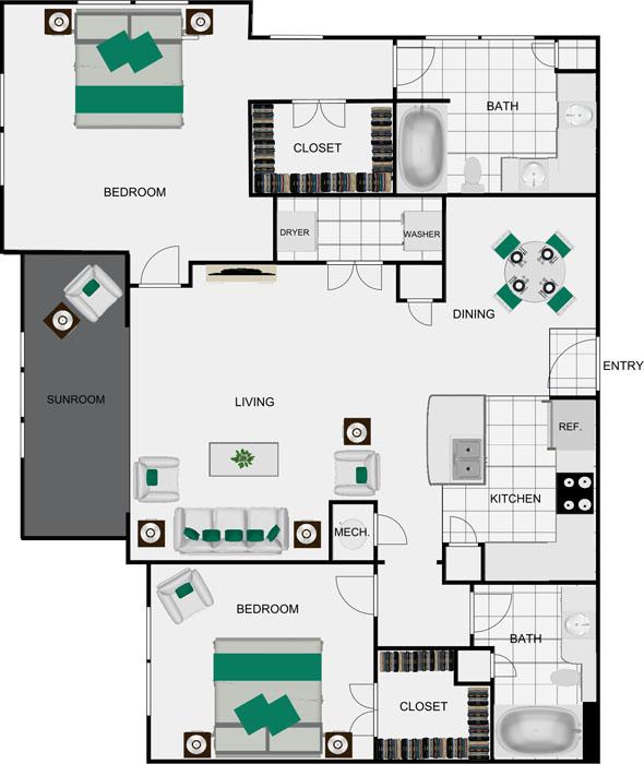 1,366 sq. ft. B8D floor plan