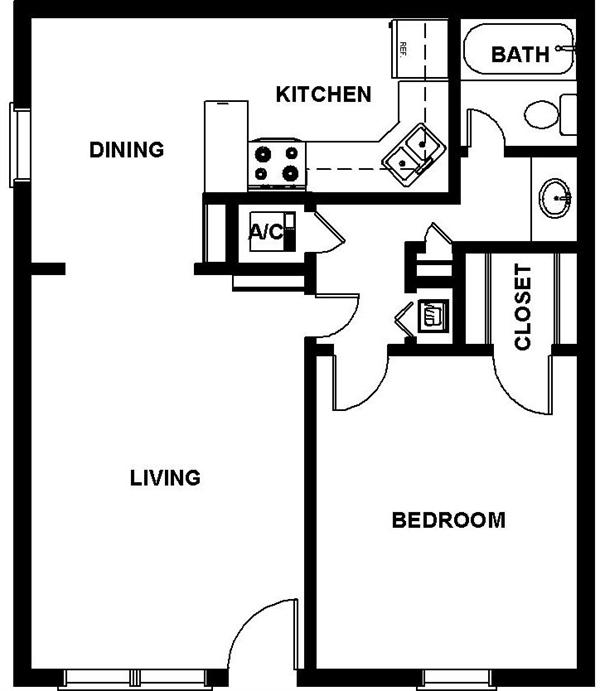 706 sq. ft. BRINSON floor plan