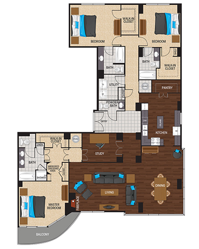 2,699 sq. ft. to 2,893 sq. ft. Cyan floor plan