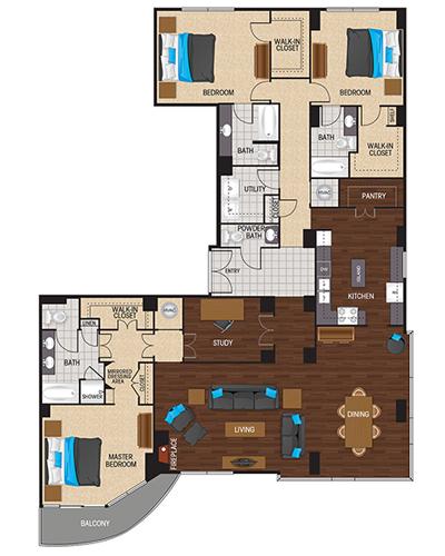 2,699 sq. ft. to 2,893 sq. ft. Cyan floor plan