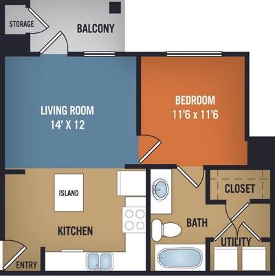 633 sq. ft. Grapevine floor plan