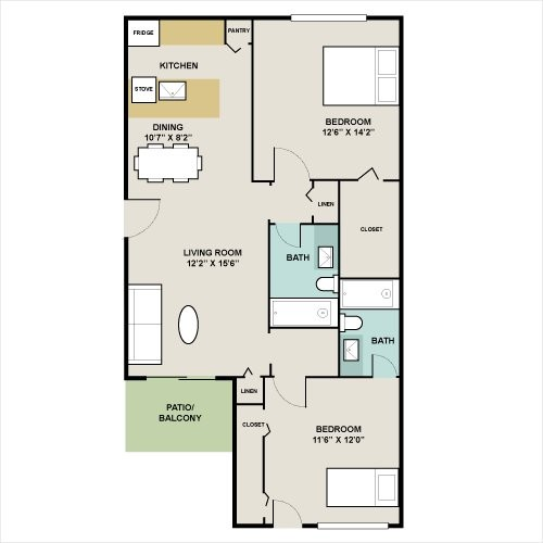 964 sq. ft. B1 floor plan