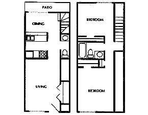 1,036 sq. ft. floor plan
