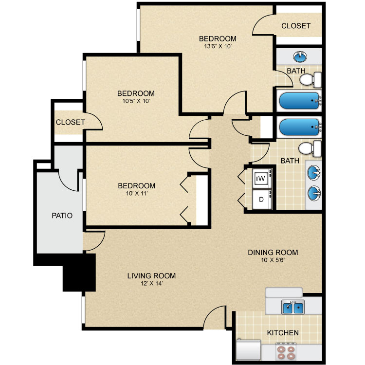 1,173 sq. ft. C1 floor plan